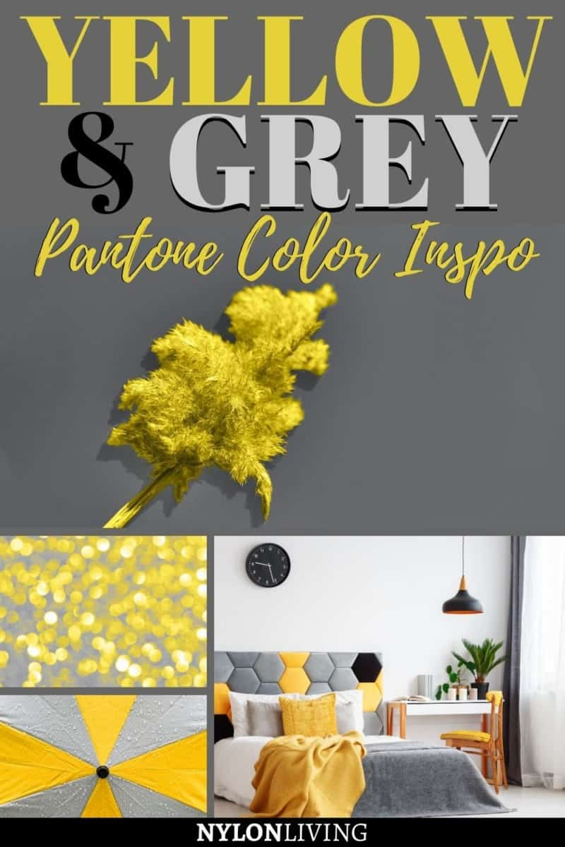 "pinterest image of yellow and grey items with the text: ""yellow & grey pantone color inso"""